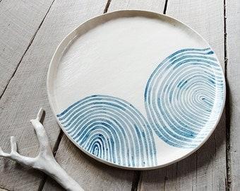 Handmade ceramic dinner plate, waves, Australian made, rustic,Australian ceramics,ceramics and pottery