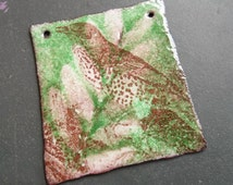 torch fired enameled recycled copper artisan component-Botanical bird