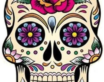 Dia de los muertos Skull - Temporary tattoo