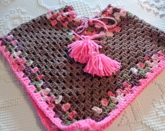 Childs Poncho- Brown and Pink Poncho-size 2-5, Girls Photo Prop