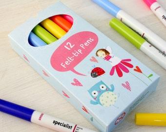 Box of 12 Felt Tip Pens for Children