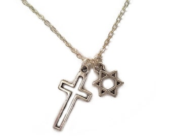 Interfaith Jewish Star & Cross Necklace --- Judeo-Christian jewelry