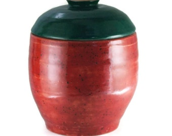 """Large 10 cup pottery Lidded Jar, Kitchen storage canister, Cookie Urn, Red with Dark Green lid, """"Berry Good"""", Wheel Thrown stoneware ceramic"""