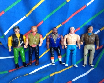 Vintage 1983 1984 Galoob The A-Team large action figures set lot. Murdock, B A Baracus (Mr T), Hannibal, 2x bad guys: ginger moustache Viper