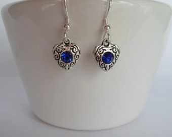 heart earrings, Sterling Silver ear wires, bridesmaid gifts, blue stone