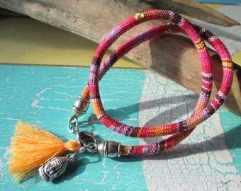 Style wrap bracelet with Buddha head and tassel * hippie * Ibiza style