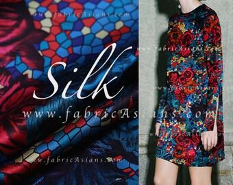 Red Rose Silk fabric mosaic prints