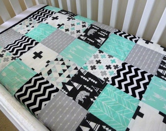 Patchwork Cot / Crib Quilt Made in Australia Black White and Mint Baby Boy Blanket