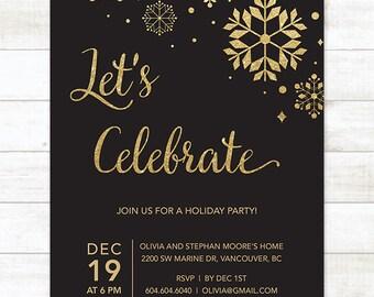 black gold holiday party invitation printable snowflakes black gold glitter christmas party invitation card digital invite customizable