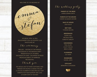 Gold Glitter Wedding Program Black And Printable Custom