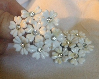 Vintage White Floral Bouquet Earrings