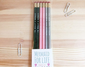 Mermaid For Life Engraved Pencil Set
