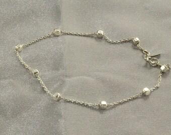 Minimal Bracelet | Chain Bracelet | Sterling Silver Bracelet | Women Bracelet | Shiny Hammered Bracelet | Delicate Bracelet | Christmas Gift