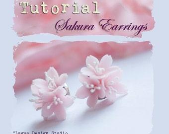 TUTORIAL Polymer Clay Sakura Cherry Blossom Earrings Hand Sculpted Lifelike Flowers PDF eBook