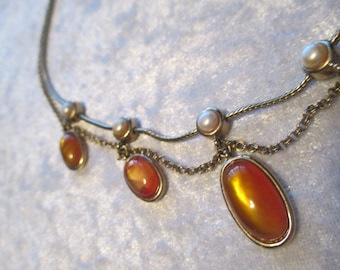 Necklace/MONET amber, pearl and gold bib/drop necklace