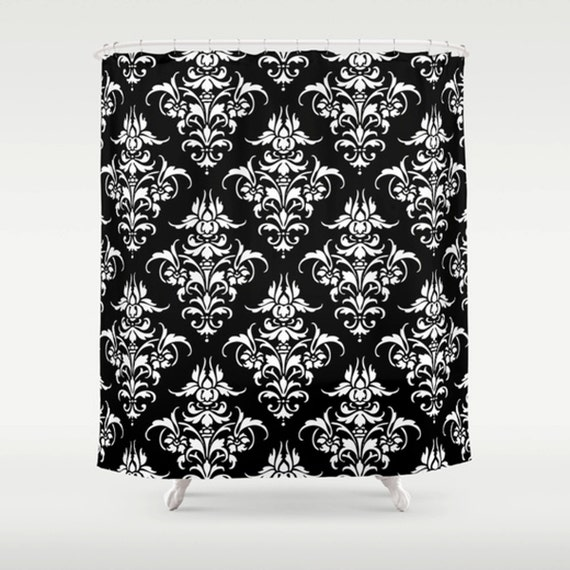 DAMASK PATTERN SHOWER Curtain Black And By