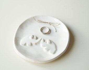 Ring Bearer Pillow Alternative, Wedding gift, Wedding Ring Bearer, Ring Plate, Wedding Ring Holder, Love Elephants, Ceramics and Pottery