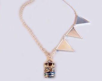 Mary Poppins charm necklace, Carousel necklace, Merry go Round necklace, Mary Poppins, Bunting, Carousel jewellery, charm necklace, funfair.