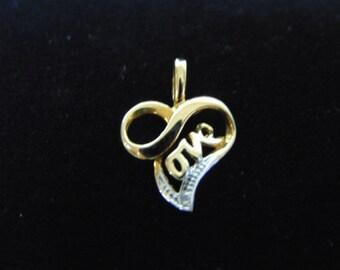 Womens Vintage Estate 14K Yellow Gold Heart Pendant 0.9g E2489