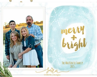 Christmas Card Template for Photographers, Template for Photoshop, Holiday card template, 5x7, Printable, Watercolor, Gold Foil