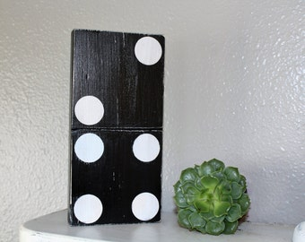 Domino Small Wooden/Framily Number Sign/ Rustic Gallery Wall/Decor Black and White/Number Decor/Game Room Design/Shelf Accent