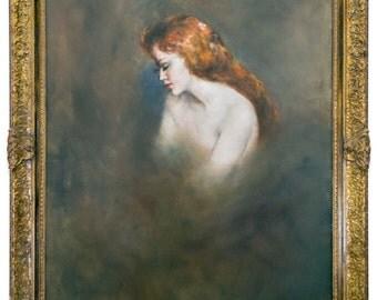 """7882 Pal Fried """"White Shoulders"""" Oil on Canvas, Framed"""