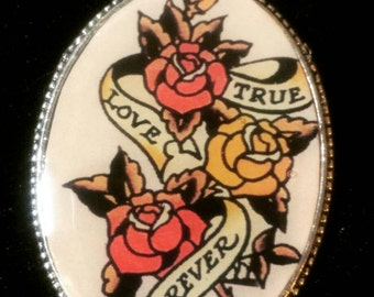 rose pendant necklace old style traditional tattoo