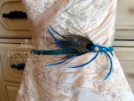 Peacock bridal sash peacock sash peacock bridal belt for Peacock wedding dress sash