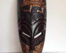 Hand Carved Wood Mask - Metal Overlay - 7