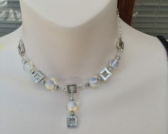 Squares and Moonstones necklace