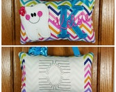 FABUMIMI ORIGINAL Personalized tooth fairy pillow, multicolor chevron pattern, optional tooth chart available