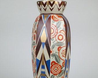 Saint Ghislain Vase, Art Deco Masterpiece, Bold Geometric and Stylized Floral Design, 1920s.