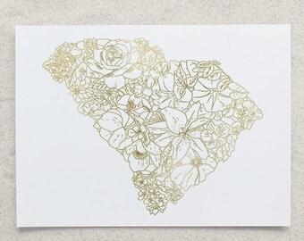 Botanical South Carolina Foil Print