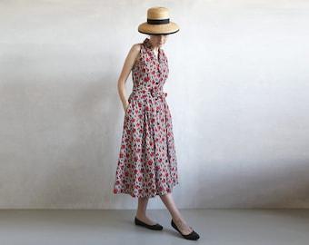 floral striped dress / sleeveless shirt dress / black and red dress / striped day dress / 50s style dress / vintage cotton dress / size smal