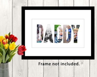 Personalised photo print, photo collage print, word in photos print, wall print, home decor, for him, for her, anniversary gift