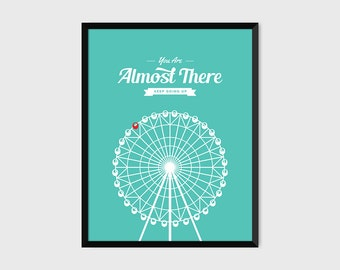 Japanese Ferris Wheel Retro Print Illustration & Typography Poster [green]