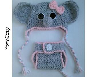 Baby Elephant, Baby Elephant Costume,  Baby Elephant Hat, Newborn Elephant Photo Prop