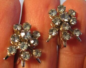 Blue stone Sunburst earrings, Vintage