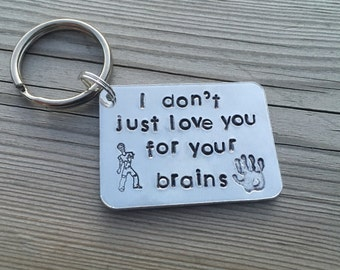 Hand Stamped Zombie Apocalypse Keyring 'I don't just love you for your brains' with zombie and hand stamp. The Walking dead, Christmas gift