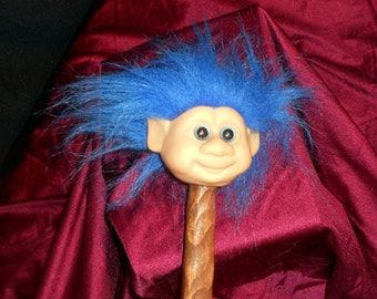 "Troll ~ Cosplay Weapon ~ Long Wood Cane 46"" ~ Dam Doll Head ~ Good Luck Wish Wizard ~ Blue Hair ~ Jester Costume Prop Staff ~ CyberPunk Play"