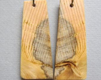 Glowing Pine Wooden Earrings Rectangle drop repurposed Handcrafted ExoticWoodJewelryAnd