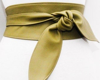 Olive Green Leather Obi Belt tulip tie | Plus Size Belt | Waist Corset Belt | Real Leather Belt