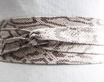 White Snakeskin Leather Obi Belt | Waist Sash Belt | Leather tie belt | Corset Leather Belt| Plus Size Belt