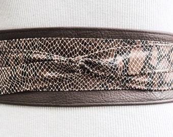 Snakeskin Leather Obi Belt | Waist Sash Belt | Leather tie belt | Corset Leather Belt| Plus Size Belt