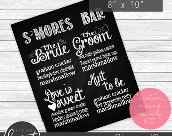 "S'mores Bar Menu Printable 8""x10"""