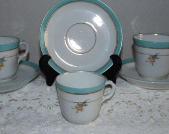 Vintage 6 Piece Demitasse 3 Cups 3 Saucers Fine China Porcelain