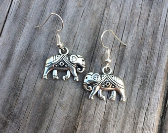 Elephant Earrings, Silver Elephant Earrings, Charm Earrings, Tribal Earrings, Gifts for her