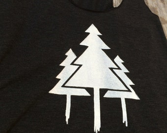 Skyforest Tank, Paint Trees, Tree Racerback Tank Top, Screen printed t-shirt, Forest Tank