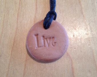 Natural Terra Cotta Clay Aromatherapy Pendent- Live