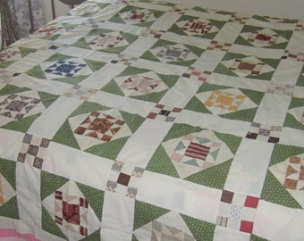 Very Stunning Antique Multicolored Green Star Quilt Top 60X75""